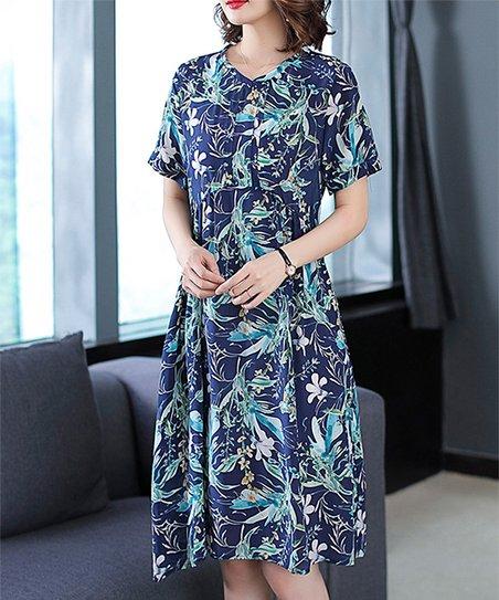 24c53ddcc8c2 Charlie Charlie Charlotte Navy Floral Empire-Waist Dress | Zulily