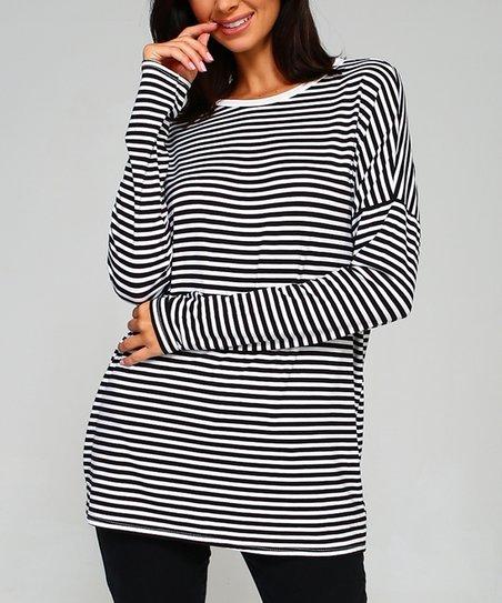 2b7e01ed753 love this product Black   White Stripe Long-Sleeve Tunic - Plus