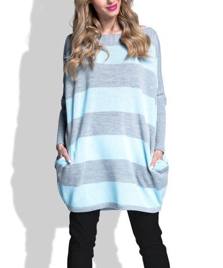 03bf080c3a5f2 Fimfi Blue   Gray Stripe Oversize Boatneck Sweater - Women