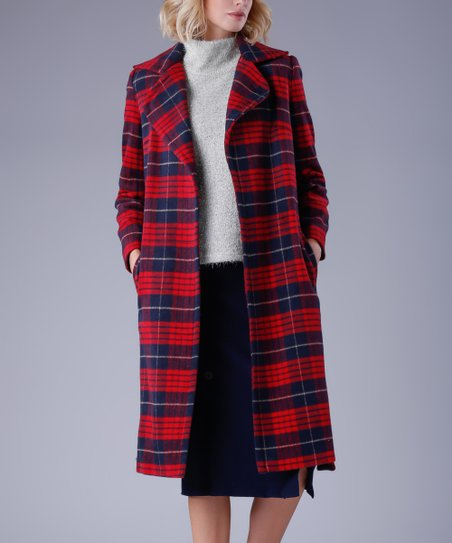 9c90022f4 love this product Red   Blue Plaid Wool-Blend Trench Coat - Women