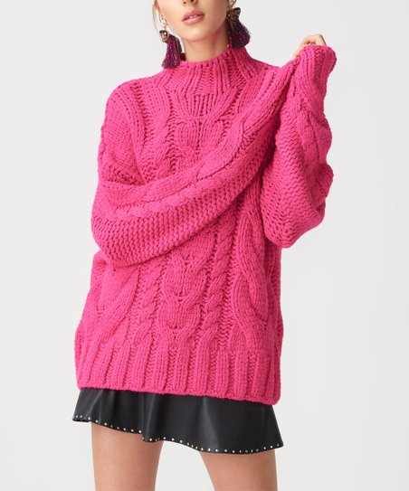 68b3e82b9ac love this product Fuchsia Cable-Knit Sweater - Women