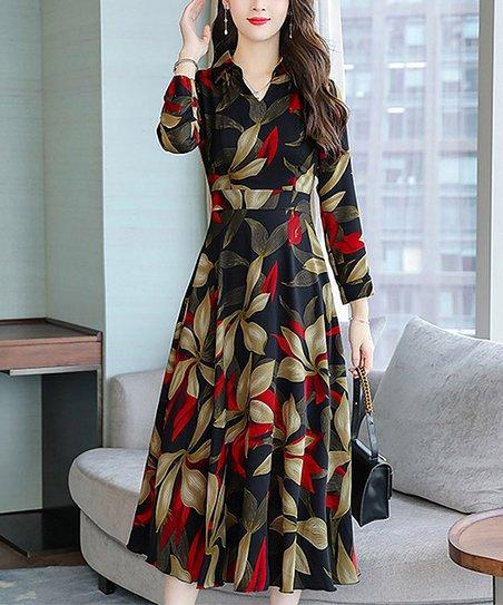 0d7690d3f966 Charlie Charlie Charlotte Red Floral Empire-Waist Midi Dress - Women ...