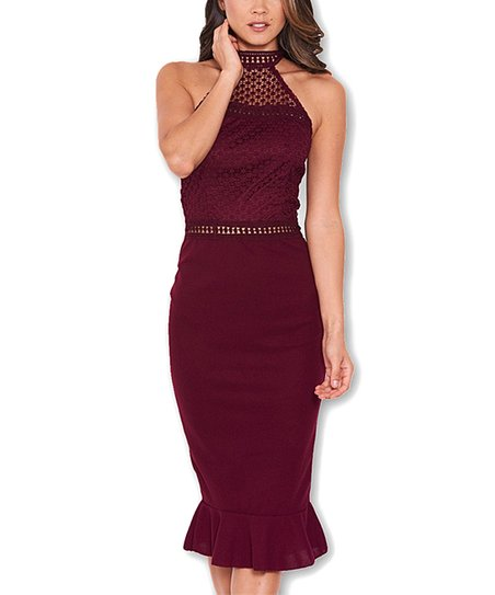 6d682409 love this product Plum Lace-Yoke Sheath Dress