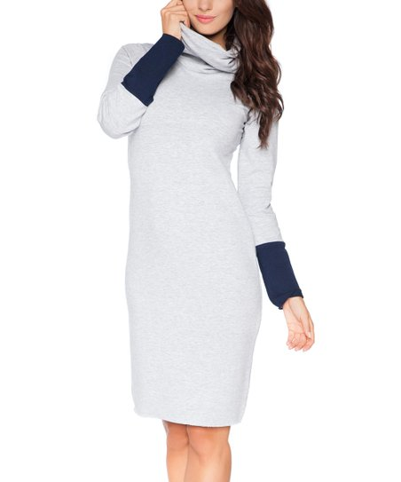 Mia Mo Light Gray   Navy Blue Cowl Neck Sweater Dress - Women   Plus ... a0391272c