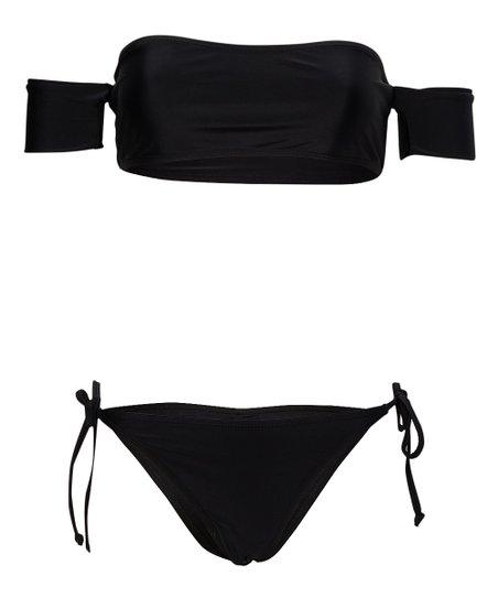 1acac95c54147 Betty Jade Black Off-Shoulder Bandeau Bikini - Women | Zulily