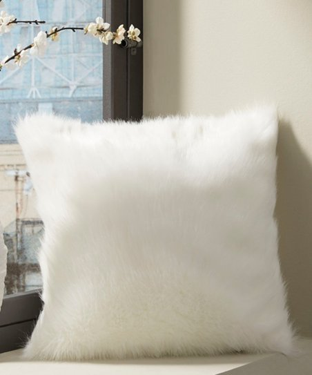 Love This Product White Himena Faux Fur Throw Pillow