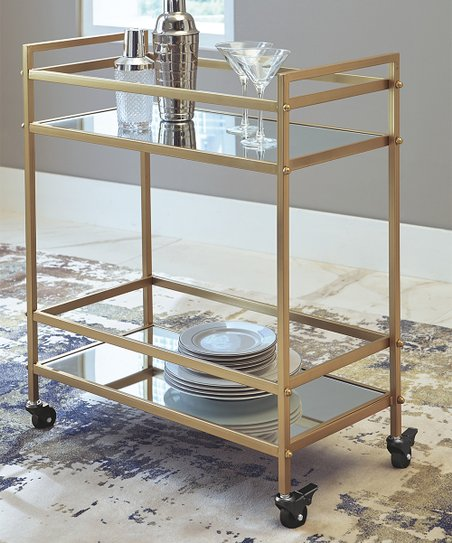 Gold Kailman Two Tier Bar Cart