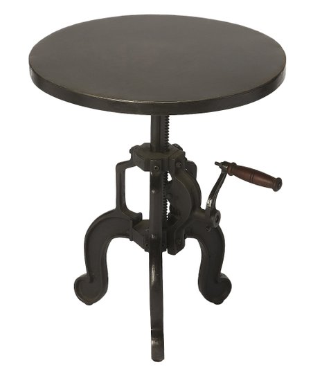Black Industrial Hand Crank End Table