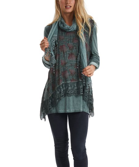 d979aaada15 love this product Olive Foliage Layered Tunic   Scarf - Women