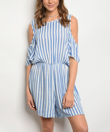 fe0439695a7 love this product Blue   White Stripe Chambray Cold-Shoulder Romper - Women