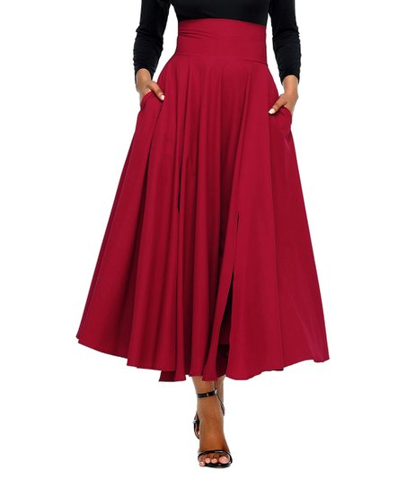 58fd3fa4db75 love this product Red Pleated High-Waist Maxi Skirt - Women