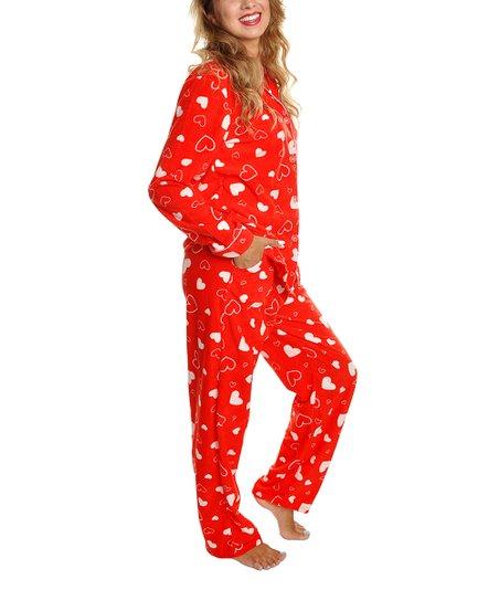 f79ce991edcd Angelina Red Heart Fleece Pajama Set - Women