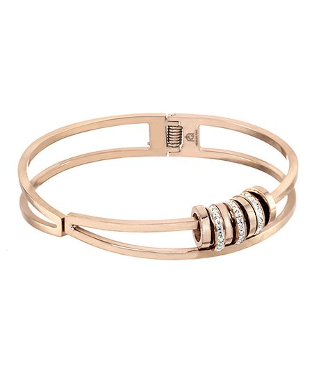 Milano Stainless Steel Ring.Giorgio Milano Rose Goldtone Crystal Ring Charm Hinge Bangle