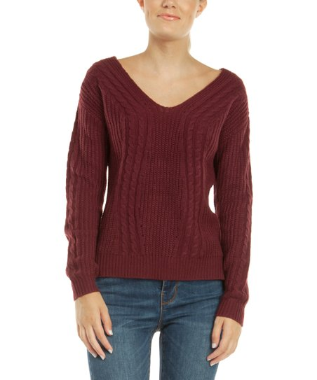 48263a1c97b77f love this product Merlot Cable Knit Crisscross-Back Sweater - Women