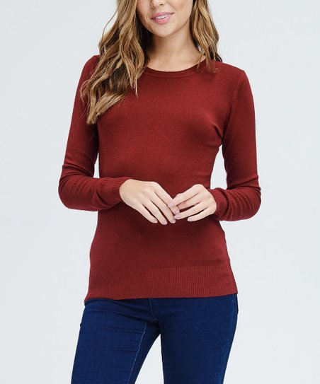 3f5cd772a15 LARA Fashion Burgundy Crewneck Sweater - Women
