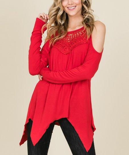 25a87eea132f2 love this product Red Crochet-Panel Cold Shoulder Handkerchief-Hem Top -  Women