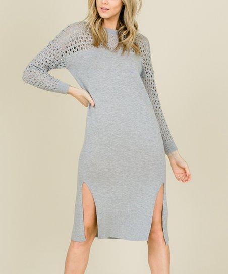 de0375d762 Annabelle USA Heather Gray Crochet-Sleeve Side-Slit Sweater Dress ...