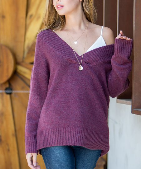 7659977a01 Cherry On Boutique Burgundy Deep V-Neck Sweater