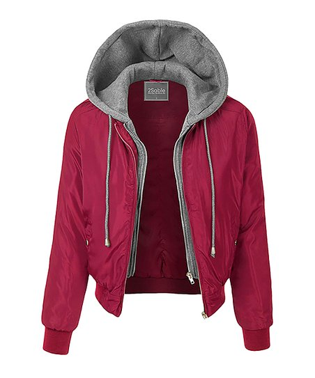 love this product Burgundy Hooded Bomber Jacket - Women 6f4340bd448e