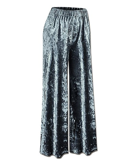 Udear Olive Green Velvet Palazzo Pants Plus Zulily