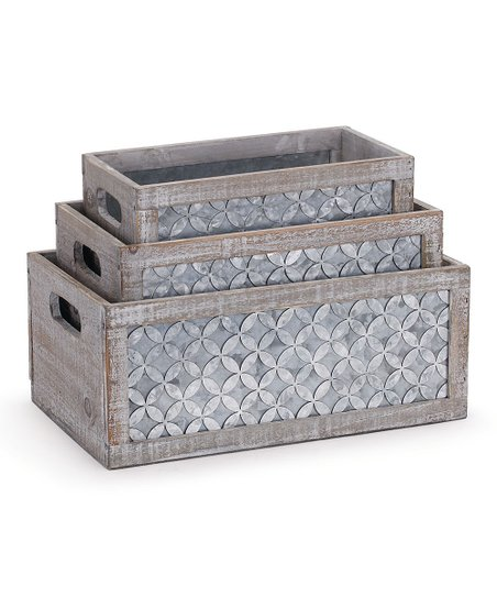 Napco Gray Lattice Planter Box Set Zulily