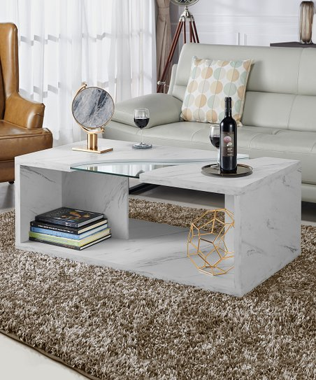 Furniture of America Marbled White   Glass Contemporary Coffee Table ... b4b5f438b4
