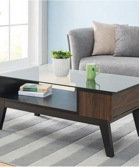 Furniture of America Distressed Walnut   Black Glass-Top Coffee ... 1ac0b0096f