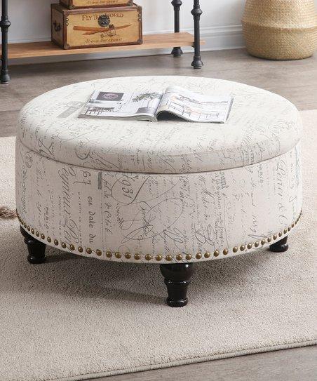 Enjoyable Nathaniel Home Cream Vintage Script Round Storage Ottoman Beatyapartments Chair Design Images Beatyapartmentscom