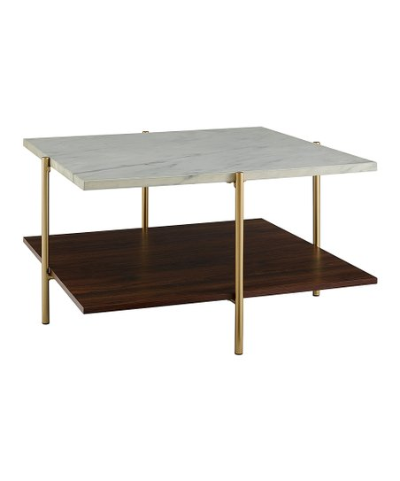 White U0026 Gold Square Faux Marble Coffee Table
