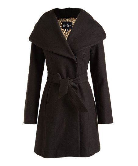 Jessica Simpson Collection Black Hooded Trench Coat Women