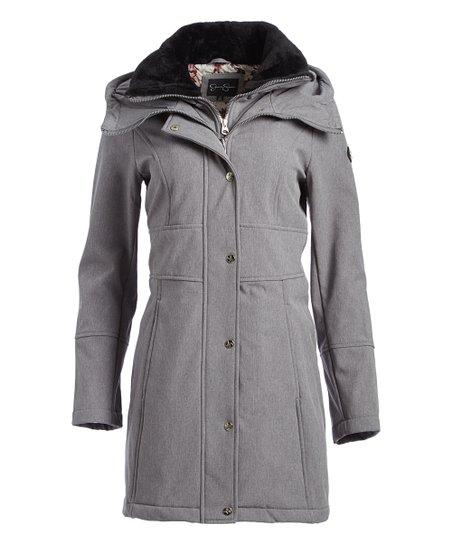 Jessica Simpson Jeanswear Heather Gray Faux Fur Trim Hooded Coat Women