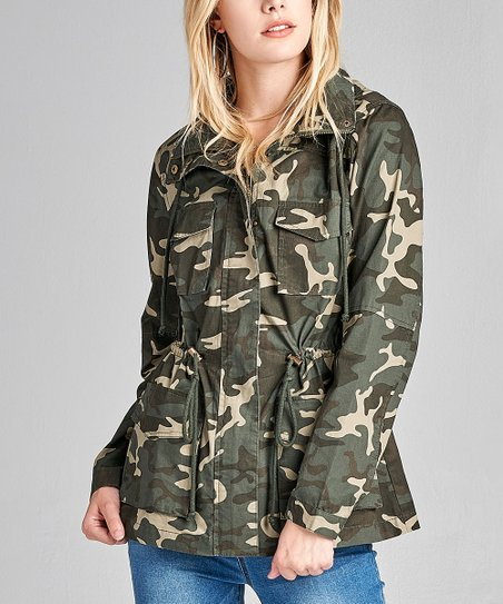 ddf01d01e love this product Olive Camo Print Hooded Utility Jacket - Women