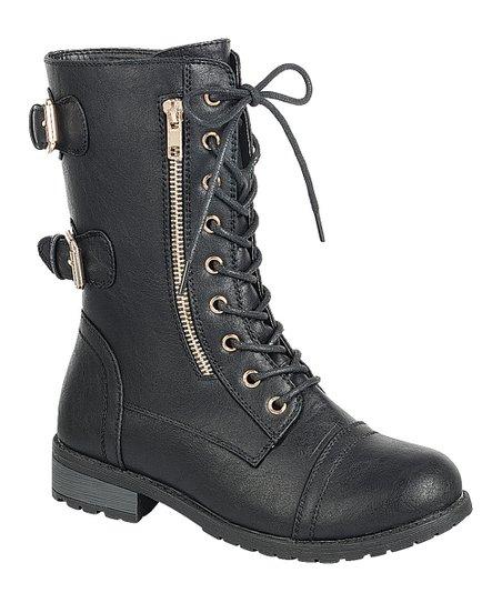 Black Mango Lace-Up Boot - Women   zulily 827ed004e3f0