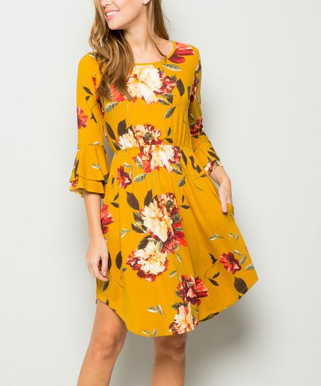 b08d949faac5 love this product Mustard   Pink Floral Ruffle Fit   Flare Dress - Plus