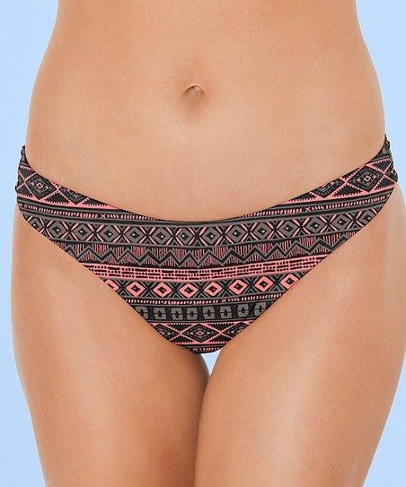 f013402e0e Venus Black & Pink Geometric Scoop Front Bikini Bottom - Women   Zulily