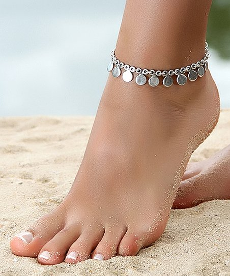 Silvertone Charm Station Anklet by Nautilus