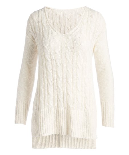 422a8af70 Arpeggio Off-White Cable-Knit V-Neck Sweater - Women