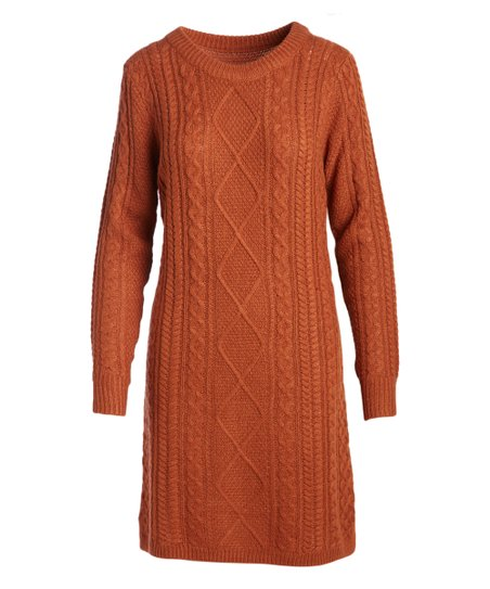 7429fce76fe love this product Rust Cable-Knit Crewneck Tunic - Women