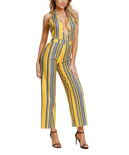 64489c7761a love this product Navy   Yellow Stripe V-Neck Jumpsuit - Women