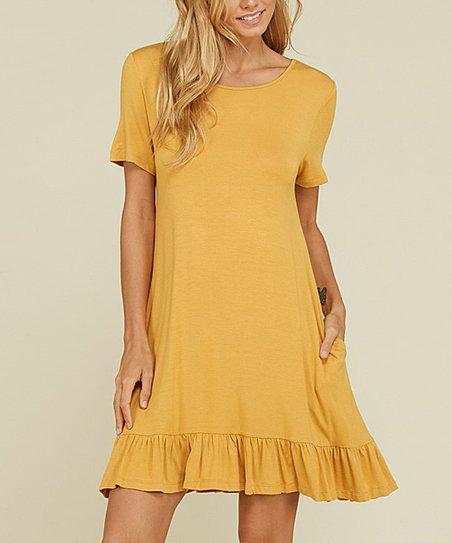 06c2107e1a love this product Mustard Ruffle-Hem T-Shirt Dress - Women