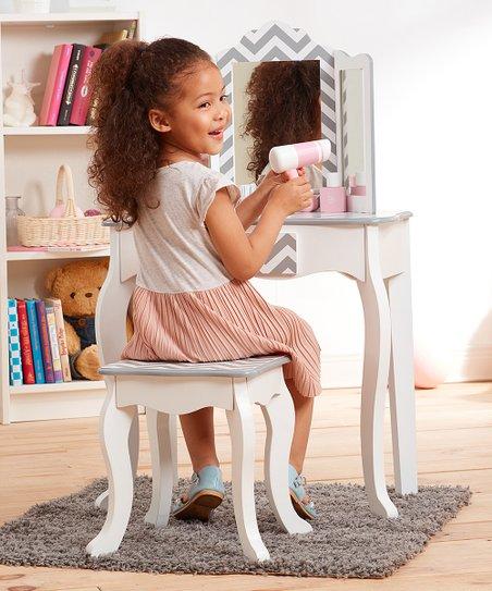 Amazing Teamson Kids Gray Chevron Vanity Table Stool Set Ibusinesslaw Wood Chair Design Ideas Ibusinesslaworg