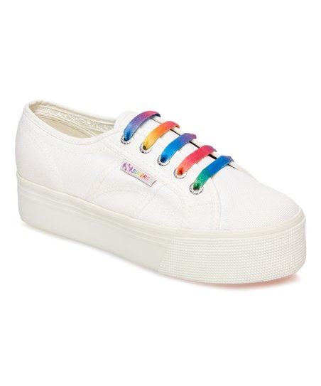 love this product White   Rainbow Canvas Platform Sneaker - Women