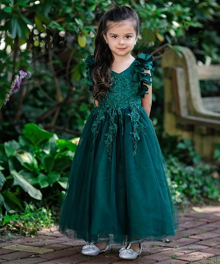 6678adadab44 love this product Dark Green Ruffle-Sleeve Arianna Gown - Toddler & Girls