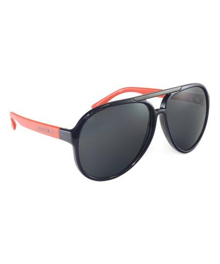 67b71153f7 love this product Navy Blue   Orange Aviator Sunglasses - Women