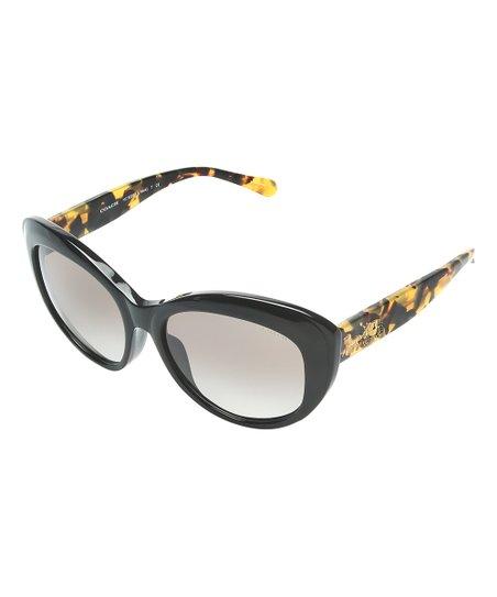 a818842312409 Coach Black Vintage Tortoise Cat-Eye Sunglasses