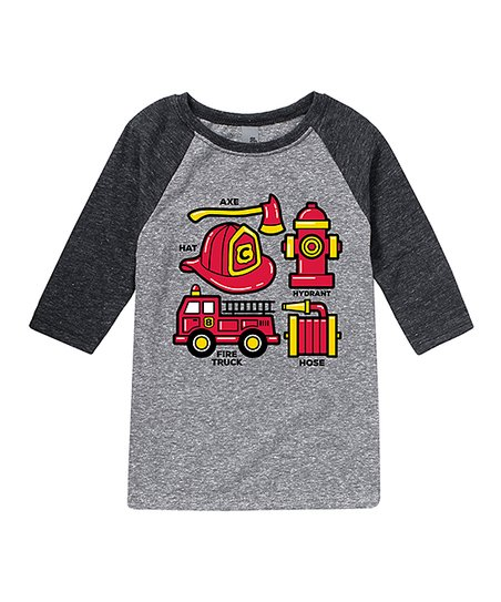 ff4ee869d Instant Message Black & Athletic Heather Firefighters Tools Raglan ...