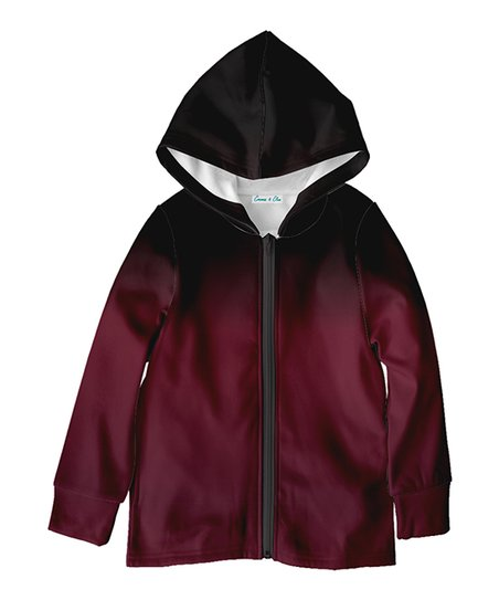 Emma James Black Burgundy Ombre Fleece Zip Up Hoodie Toddler