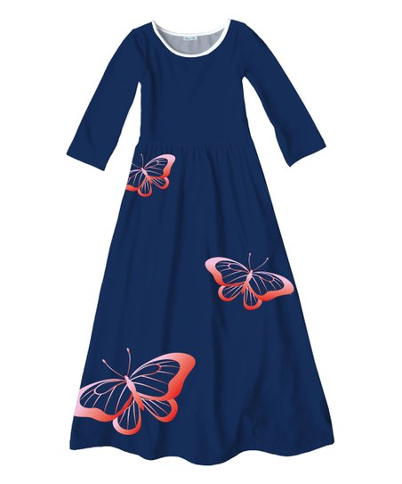 e7f01da2fb69 Emma & Elsa Navy Butterfly Maxi Dress - Girls | Zulily