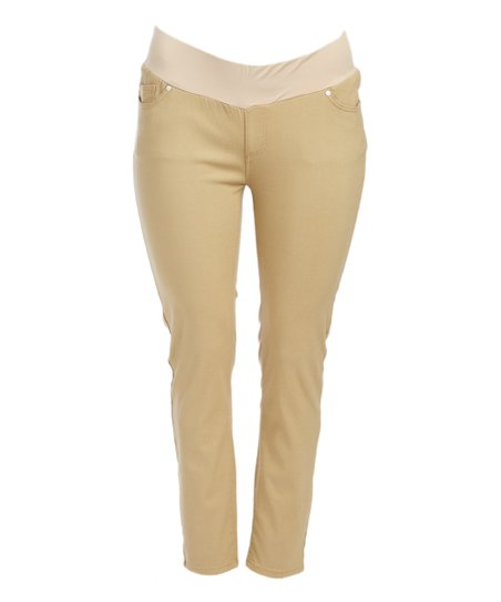 360629dad96 Times 2 Khaki Under-Belly Stretch Twill Maternity Skinny Pants - Plus Too
