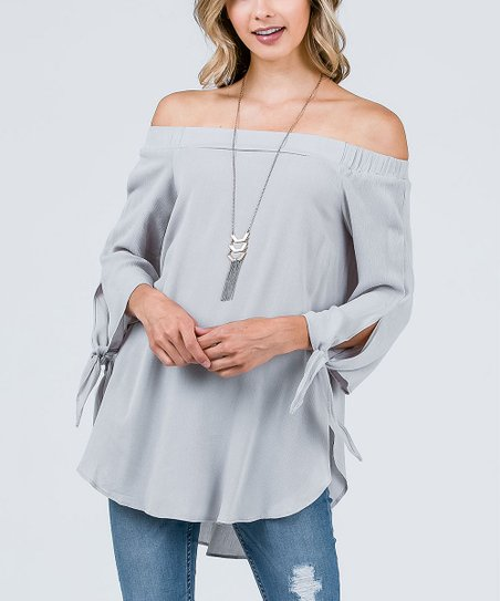 77535f39de4 love this product Stone Split-Sleeve Off-Shoulder Top - Women